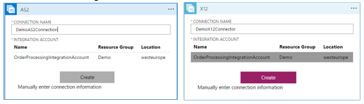 selecting the integration account